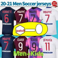 20-21 Maillot Paris # 7 MBappe Quarta Jerseys 2020 Longe # 9 Icardi Men Paris 3rd Camisas De Futebol Personalizado Camisa