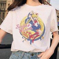선원 달 여름 새로운 패션 티셔츠 여성 하라주쿠 Ulzzang 티셔츠 90s 소녀 tshirt 만화 탑스 티