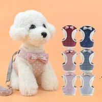الكلب يسخر القط المقود الحيوانات الأليفة سترة نوع الكلب المقاود كلب صغير كلب bowknot الصدر حزام الحيوانات الأليفة اللوازم OWE4883