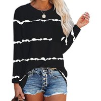 New Women Autumn Winter T Shirt Fashion Female Pocket Long Sleeve Pink Striped Loose Tee Shirts Oversize Casual Office Lady Tops