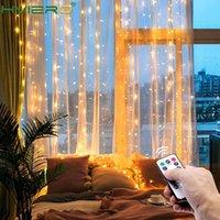 LED 크리스마스 요정 갈 랜드 커튼 램프 원격 제어 USB 3M 문자열 조명 홈 침실 창 벽 새해 장식
