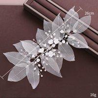 Clip per capelli Barrettes 2021 Squisita fata foglie Hairclip Handmade Weave White Flower Design Imitazione Perle Decorazione Accessori EA