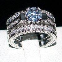 3-in-1 роскошные наборы 20CT кольца квадрат имитации бриллиантного взаимодействия свадебные украшения твердые 14КТ WWHITE GOLD заполненное кольцо для