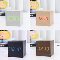 Digital Alarm Clock Wooden LED Light Multifunctional Voice Control Modern Cube Displays Date for Home Office Travel HHA8832