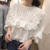 Women's Blouses & Shirts Spring Autumn Arrival Hollow Out Embroidery Loose Shirt Ruffles White Sweet Lace Blouse Womens Tops And Blusas 1588