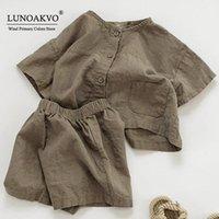 Conjuntos de ropa Lunoakvo Niños Set Boys Traje de verano Algodón suelto Bebé 2 piezas Camisa de manga corta + Pantalón Ropa para niños