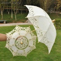 Fans & Parasols Vintage Small Beige Lace Wedding Umbrella Princess Embroidery Victorian Showers Decorations Ombrelle Mariage