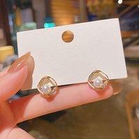 Dangle & Chandelier Minimalist Enamel Square Pearl Rhinestone Earrings Fashion Temperament Female S925 Needle Stud For Women Jewelry