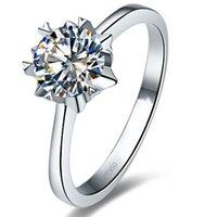 Sterling prata 1ct floco de neve jóias nscd simulado anel de noivado de diamante Solitaire snowflake anel para mulheres casamento