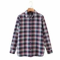 Women's Blouses & Shirts Autumn Casual Girl Plaid Print Cotton Vintage Long Women Classic Style Sleeve Soft Loose Shirt Tops 4LX6