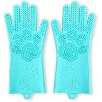 Pet Grooming Magic Gloves, Cepillo de champú de baño de gato de perro, Guantes de eliminación de pelo de silicona con dientes de alta densidad gruesa