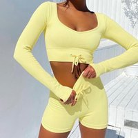 Women's Tracksuits Women V-neck Cropped Tops Shorts Two Pieces Set Sexy High Waist Lace Up Threaded Suit Female 2021 Summer Ladies Casual Se
