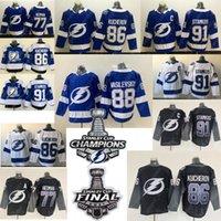 2021 Stanley Cup Champions Jersey Tampa Bay Lightning Nikita Kucherov Steven Stamkos Brayden Point Victor Hedman Andrei Vasilevskiy Hockey Jerseys Blanco Azul