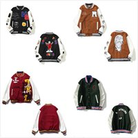 Chaqueta para hombres Trande de alta calle Traje de béisbol de alta calidad de alta calidad, mangas de cuero bordadas, empalmadas, chaquetas de algodón, estilo hip-hop
