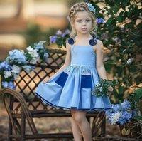 2021 الصيف بنات حمالة اللباس مع الدانتيل مطوي فساتين الأميرة أكمام الدينيم الأزرق تنورة الجيب شاطئ الملابس عارضة H230W96