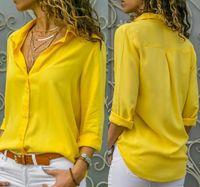 Women's Blouses & Shirts LouLan Queen 2021 Women White Basic Selling Button Summer Long Sleeve Shirt Chiffon Plus Size Tops
