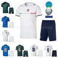 이탈리아 2021 유럽 축구 10 Lorenzo Insigne Jersey 세트 국립 대표팀 17 Ciro immobile 9 Andrea Belotti 19 Leonardo Bonucci 축구 셔츠 키트 2020 유로