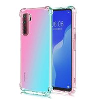 Pour Huawei Nova 7 SE Diffusion double couleur Crystal Clear Clear Silicon Cover Cover Cover