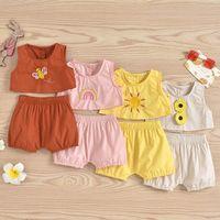 Infant Clothing Sets Girls Outfits Baby Clothes Kids Wear Summer Vest Tops Shorts 2Pcs Cotton Rainbow Newborn Suits B6196