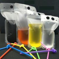 17Oz Klares Getränke Beutel Taschen Frosted Reißverschluss Stand-up Plastik Trinkbeutel mit Strohhalter mit Halter Wiederverklebbare hitzedichte Verpackungstasche HH21-1