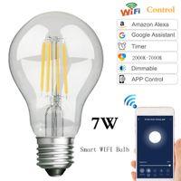 LED 와이파이 스마트 전구 Edison 레트로 텅스텐 램프 E27 스크류 필라멘트 조명 Amazon Alda Alexa Google 홈 음성 제어 시연식 램프