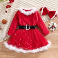Christmas Kids Girls Fleece Dress XMAS O Neck Long Sleeve High-Waist Sequined Mesh Skirt Party Pageant Santa Dresses N7y9#