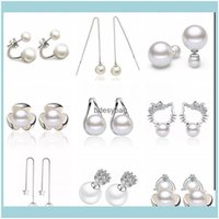 Stud Jewelry 925 Sterling Sier Dangle For Women High Quality Big Charm Rhinestone Pearl Ball Earrings Jewelry Drop Delivery 2021 Wluvq