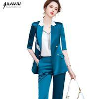 Kadın Iki Parçalı Pantolon Yüksek Sonu Kadınlar 2021 Yaz İş Mizaç İnce Panelli Resmi Blazer ve Ofis Bayanlar Moda Çalışma Wea
