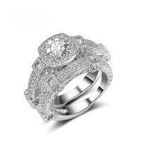 مع الأحجار الجانبية الفاخرة الصلبة 925 فضة خواتم الزفاف مجموعة ل الزفاف 2 قطع النساء خطوبة الذكرى هدية مجوهرات بالجملة R481