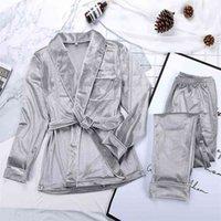 Hechan Grey Samt Pyjamas Warme Langarm Home Anzug Für Frauen Zwei Teile Set Dicke Nachtwäsche Set Nachtanzug Sets Herbst Weibliche 210831