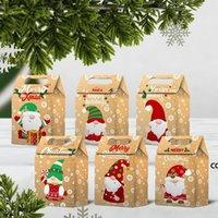 أكياس هدية عيد الميلاد سانتا أكياس كرافت ورقة حقيبة أطفال حزب تفضل مربع الأطراف الإبداعية لصالح لوازم الديكور DHB9131