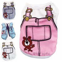 Fashion Dog Apparel Sublimation Pet Clothes Hand Painted Teddy Bear Vest Waistcoat Spring Summer Dogg Vests Ventilation Pup Shirt Sweats for Small Girl Dogs Blue A15
