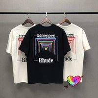 Boy Rhude Kutusu Perspektif T-shirt 2021 Yaz Erkek Kadın Vintaj 1: 1 Kalite Rhude Tee Renk Baskı Kısa Kollu S0810 Tops