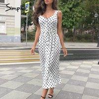 Simplee Polka Dot Kadınlar Elbise Kolsuz Düğmeler Kemer Bodycon Beach Midi Elbise Streetwear Rahat Plaj Giymek Tatil Yaz Elbise 210303