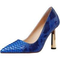 Zapatos de vestir dipsloot mujer blanca azul rojo 3d en relieve serpiente patrón noche club altos tacones puntiagudo punteado 9 cm bombas de metal