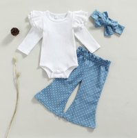 Clothing Sets Sweety Baby Girls Casual Outfits Ribbed Sleeve Knitted Romper Dot Print Flared Pants Bowknot Headband Set 3pcs