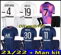 21 22 Messi Mbappe Sergio Ramos Fussball Jersey Hakimi Psgmaillots de Football Hemden Torwart Donnarumma 2021 2022 Marquinhos Verratti Erwachsene Kit mit Socken