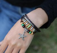 Fashion Starfish Charms Bracelets Infinity Wooden Beaded Green Rhinestone Alloy Circle Leather Bracelets For Men Jewelry ps0820