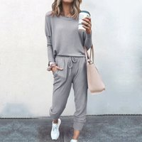 Apparel Women Clothing loose solid color long sleeve casual suit fashion women trousers sportswear in a variety of colors