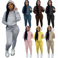 Designer Clothing Moen Autumn Winter Solid Color Hooded Casual Sweater Set Jogging Suits Women Sports Ladies Tracksuits Sport Tracksuit