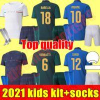 Italia Fútbol Jersey 2021 Barella Sensi Insigne 21 22 Renaissance Chiellini Bernardeschi Camisas de fútbol Kit Niños Niño Jóvenes Uniformes