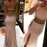 Mermaid Two Pieces Evening Dresses Thigh High Slits Beading Front Slit O-Neck Prom Party Gowns Custom