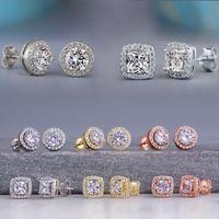 Cubic zircon Diamond stud earrings Silver rose gold women ear rings wedding fashion jewelry gift will and sandy dff1581