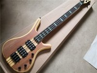 Livraison gratuite Warring 4 cordes Basse Guitare, Bas Bass, Placage d'acajou, 24 Freets Péral Inlay, 7 pièces Coux à travers le corps, Bouton Chrome