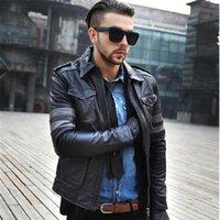Мужская кожаная искусственная коса наклонные подлинные куртки мужчины мотоцикл мужская черная пилотная куртка Jaqueas de couro masculino wxf024
