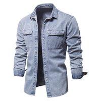 Men's Jackets 100% Cotton Denim Shirts Men Casual Solid Color Thick Long Sleeve Shirt Spring Autumn Jeans Male Ropa De Hombre Jacket