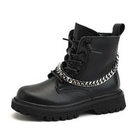 Boots Autumn Kids Baby Girls Black Ankle Shoes Children Chain Genuine Leather Boys Brand Soft Fashion