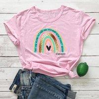 Women's T-Shirt Teacher Rainbow Shirt Women Funny Fashion Street Style Clothes 100% Cotton Tees Tops Drop