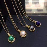 Умный роскошный бренд Gold Color Intermporel Белый серый жемчужный натуральный камень кулон ожерелье женщины мода ювелирные изделия