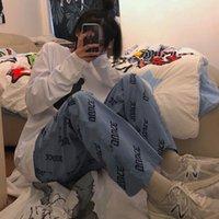 Широкие брюки ноги синий свободные без карманов Брюки женщины 2021 корейский стиль Harajuku Streetwear женщины плюс размер брюки